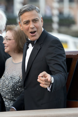 George Clooney arrives at the Aman hotel to marry Amal Alamuddin, in Venice, Italy, Saturday, Sept. 27, 2014. (AP Photo/Andrew Medichini)