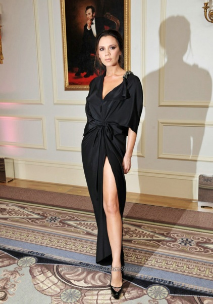 Black-V-Neck-Sexy-Side-Slit-Elegant-Inexpensive-Celebrity-Dress